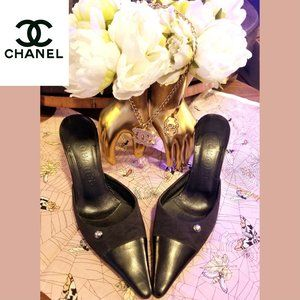 CHANEL Black CC Pointed Toe Mules - size 8
